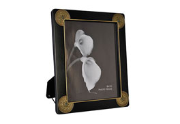 Metal Photo Frame Matte Black Coating W/Antique Brass Acrylic